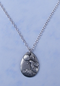 Pendant Pewter Moon Gazing Hare Small